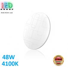 Настенно-потолочный светодиодный светильник 48W, 4100K, накладной, сталь + пластик, круглый, белый, RA≥80