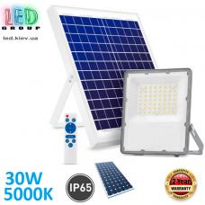 Светодиодный LED прожектор, автономный с пультом управления, на солнечной батарее, 30W, 5000K, IP65, накладной, тёмно-серый