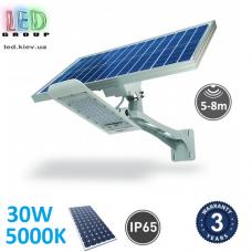 Светодиодный LED светильник, автономный с датчиком движения, на солнечной батарее, 30W, 5000K, IP65, накладной, алюминиевый, серый, RA≥80