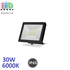 Светодиодный LED прожектор, 30W, 6000K, IP65, алюминий + антивандальное стекло, накладной, чёрный, RA>70
