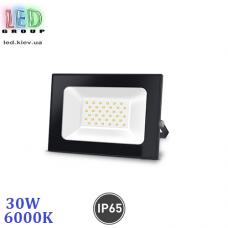 Светодиодный LED прожектор, 30W, 6000K, IP65, алюминиевый, накладной, чёрный, RA≥70
