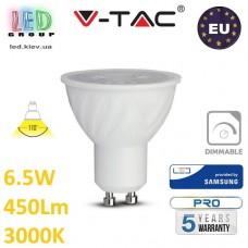 Светодиодная LED лампа V-TAC, 6.5W, GU10, диммируемая, 110°, 3000К – тёплое свечение. ЕВРОПА!!! Гарантия - 5 лет