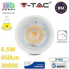 Светодиодная LED лампа V-TAC, 6.5W, GU10, диммируемая, 38°, 3000К – тёплое свечение. ЕВРОПА!!! Гарантия - 5 лет