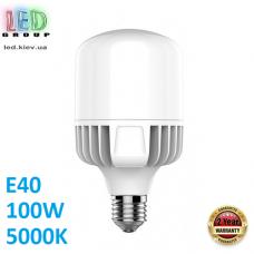 Светодиодная LED лампа 100W, E40, A145, 5000K - нейтральное свечение, алюпласт, RA≥80
