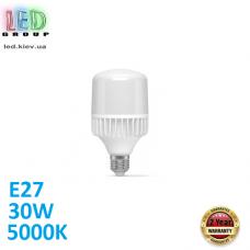 Светодиодная LED лампа 30W, E27, A80, 5000K - нейтральное свечение, алюпласт, RA≥80