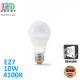 Светодиодная LED лампа, диммируемая, 10W, E27, A60, 4100K - нейтральное свечение, алюпласт, RA>90