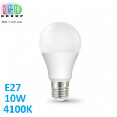 Светодиодная LED лампа 10W, E27, A60, 4100K - нейтральное свечение, алюпласт. Гарантия - 1 год