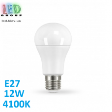 Светодиодная LED лампа 12W, E27, A60, 4100K - нейтральное свечение, алюпласт, RA≥80