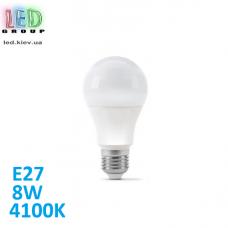 Светодиодная LED лампа 8W, E27, A60, 4100K - нейтральное свечение, алюпласт, RA≥80