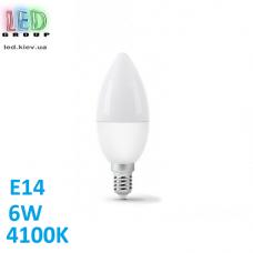 Светодиодная LED лампа 6W, E14, C37, 4100K - нейтральное свечение, алюпласт, RA>80