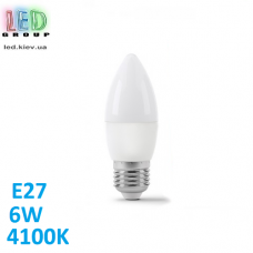 Светодиодная LED лампа 6W, E27, C37, 4100K - нейтральное свечение, алюпласт, RA≥80