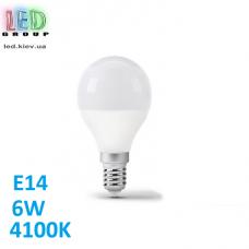 Светодиодная LED лампа 6W, E14, G45, 4100K - нейтральное свечение, алюпласт, RA>80