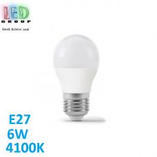 Светодиодная LED лампа 6W, E27, G45, 4100K - нейтральное свечение, алюпласт, RA≥80