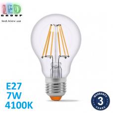 Светодиодная LED лампа 7W, E27, А60, 4100K - нейтральное свечение, филамент, стекло, RA≥90