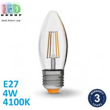 Светодиодная LED лампа, филамент, 4W, E27, C37, 4100K - нейтральное свечение, стекло, RA≥90