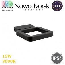 Настенный светодиодный светильник, Nowodvorski THIKA LED 9120, 15W, 3000K, IP44, RA≥80, накладной, алюминий + стекло, чёрный. ЕВРОПА!