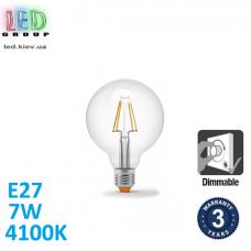 Светодиодная LED лампа, диммируемая, 7W, E27, G95, 4100K - нейтральное свечение, филамент, стекло, RA≥90
