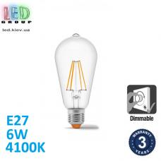 Светодиодная LED лампа, диммируемая, 6W, E27, ST64, 4100K - нейтральное свечение, филамент, стекло, RA≥90