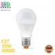 Светодиодная LED лампа 10W, E27, A60, 3000K - тёплое свечение, алюпласт, RA>90
