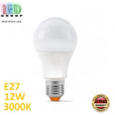 Светодиодная LED лампа 12W, E27, A60, 3000K - тёплое свечение, алюпласт, RA≥90