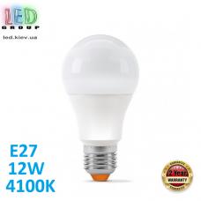 Светодиодная LED лампа 12W, E27, A60, 4100K - нейтральное свечение, алюпласт, RA≥90