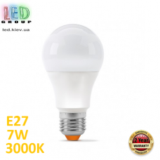 Светодиодная LED лампа 7W, E27, A60, 3000K - тёплое свечение, алюпласт, RA≥90