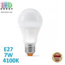 Светодиодная LED лампа 7W, E27, A60, 4100K - нейтральное свечение, алюпласт, RA≥90
