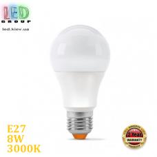 Светодиодная LED лампа 8W, E27, A60, 3000K - тёплое свечение, алюпласт, RA≥90