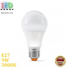 Светодиодная LED лампа 9W, E27, A60, 3000K - тёплое свечение, алюпласт, RA≥90