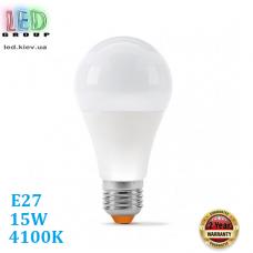 Светодиодная LED лампа 15W, E27, A65, 4100K - нейтральное свечение, алюпласт, RA≥90