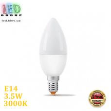 Светодиодная LED лампа 3.5W, E14, C37, 3000K - тёплое свечение, алюпласт, RA>90