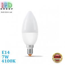 Светодиодная LED лампа 7W, E14, C37, 4100K - нейтральное свечение, алюпласт, RA>90