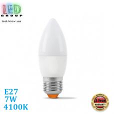 Светодиодная LED лампа 7W, E27, C37, 4100K - нейтральное свечение, алюпласт, RA≥80