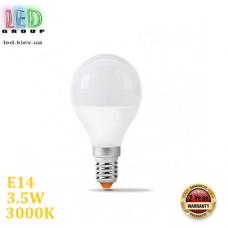 Светодиодная LED лампа 3.5W, E14, G45, 3000K - тёплое свечение, алюпласт, RA>90