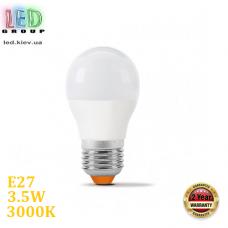 Светодиодная LED лампа 3.5W, E27, G45, 3000K - тёплое свечение, алюпласт, RA≥90