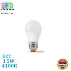 Светодиодная LED лампа 3.5W, E27, G45, 4100K - нейтральное свечение, алюпласт, RA≥90