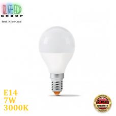 Светодиодная LED лампа 7W, E14, G45, 3000K - тёплое свечение, алюпласт, RA>90