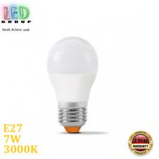 Светодиодная LED лампа 7W, E27, G45, 3000K - тёплое свечение, алюпласт, RA≥90, 270°