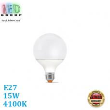 Светодиодная LED лампа 15W, E27, G95, 4100K - нейтральное свечение, алюпласт, RA≥90