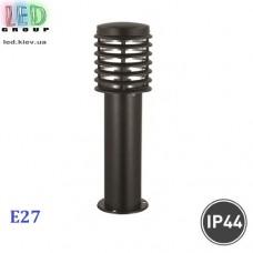 Cветильник/корпус садово-парковый, 1xE27, IP44, накладной, нержавеющая сталь, круглый, чёрный