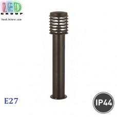 Cветильник/корпус садово-парковый, 1xE27, IP44, накладной, круглый, нержавеющая сталь, чёрный