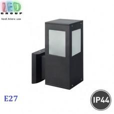 Cветильник/корпус, 1xE27, IP44, фасадный, накладной, квадратный, алюминий, чёрный