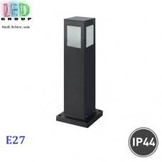 Cветильник/корпус садово-парковый, 1xE27, IP44, накладной, алюминий, квадратный, чёрный