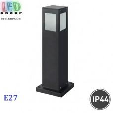 Cветильник/корпус садово-парковый, 1xE27, IP44, накладной, квадратный, алюминий, чёрный
