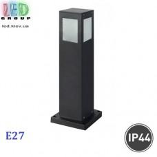 Cветильник/корпус садово-парковый, 1xE27, IP44, накладной, квадратный, чёрный