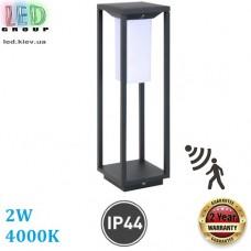 Садово-парковый светодиодный LED светильник, 2W, 4000K, IP65, RA≥80, с датчиком движения, на солнечной батарее, пластиковый, чёрный