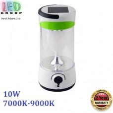Светодиодный LED светильник аварийный, 10W, 7000К- 9000К, на солнечной батарее, с диммированием, пластик, белый/зелёный