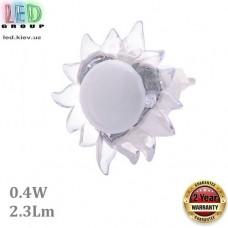Светодиодный LED светильник-ночник, 0.4W, 2.3Lm, пластик, белый