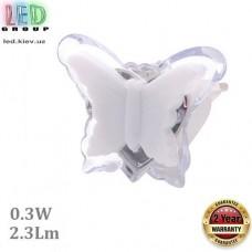 Светодиодный LED светильник-ночник, 0.3W, 2.3Lm, пластик, белый