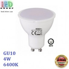 Светодиодная LED лампа 4W, GU10, MR16, 6400K - холодное свечение, пластик, RA≥80
